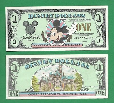 1996 $1 Disney Dollar Mickey Mouse Currency Banknote