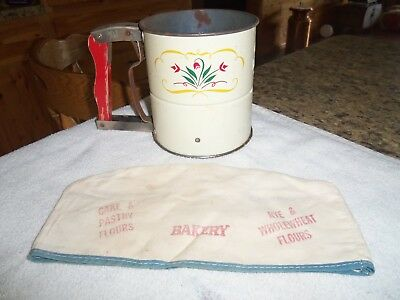 vntg androck hand-i-sifter with vntg cloth bakers cap