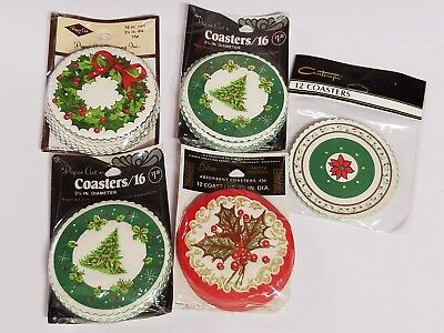 Vintage Lot 72  Christmas Paper Coasters Tree Wreath Holly Poinsettia Unused NOS