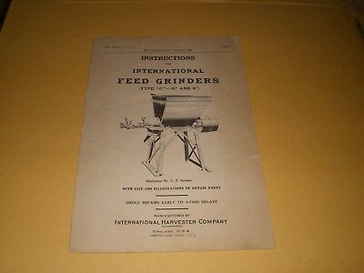 "Brochure International Harvester Co Feed Grinders Type 'C' -  6"" & 8"""