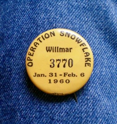 """1960 Willmar, Mn. Operation Snowflake Numbered Pin 1 1/2"""" Cello Festival"""