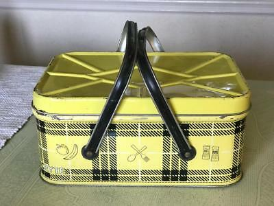 YELLOW and BLACK Vintage NESCO Tin Picnic Basket Mid Century