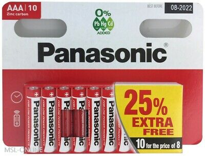10 x AAA Genuine PANASONIC Zinc Carbon Batteries - New LR03 1.5V