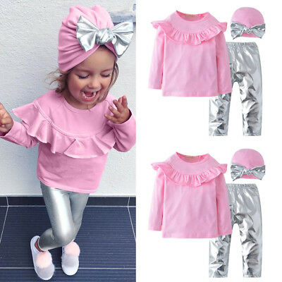 3pcs Toddler Baby Girls Long Sleeves Ruffles Top+Pants+Hat Clothes Outfit Set