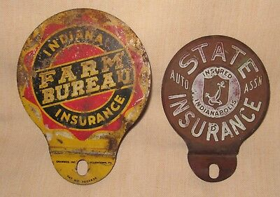 License Plate Toppers (2), Ind. Farm Bureau Ins., State Auto Ins. Indianapolis