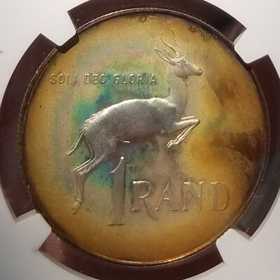 Rainbow Toned 1967 South Africa Afrikaans Silver Rand  NGC PF64  proof R1