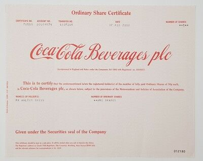 Coca Cola Beverages plc - Ordinary Share Certificate