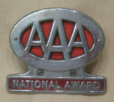 Vintage License Plate Topper, AAA National Award, Red Background