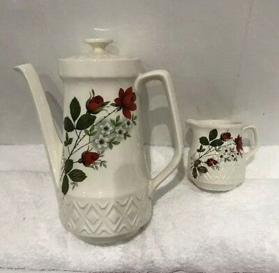 Vintage  ? Rare Crown  Ducal Aquarius Coffee Pot And Milk Jug Oven To Table Ware