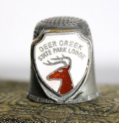 Vintage Pewter Sewing Thimble from Deer Creek State Lodge Ohio Souvenir