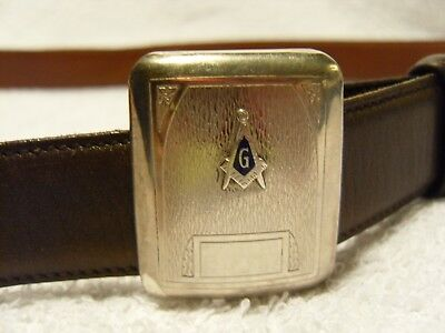 Genuine antique Masonic engine-turned solid sterling silver belt buckle (USA)