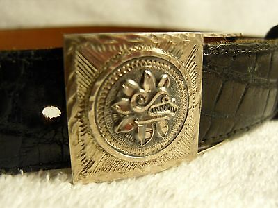 Genuine antique Aztec solid sterling silver belt buckle (Mexico)