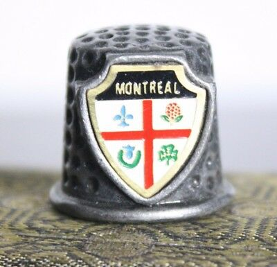 Vintage Pewter Sewing Thimble Montreal Canada Souvenir