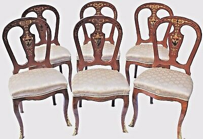 Antique Louis XVI Style Mahogany Dining Chairs w/ Painted Inlay- Set of Six