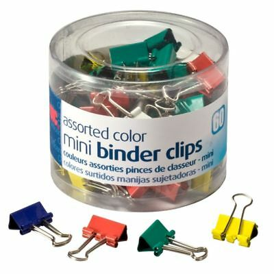 """OIC® Binder Clips Tub, Mini Clips, 9/16"""", Assorted Colors, Pack Of 60"""