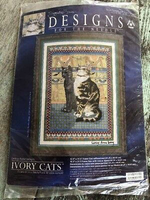 NIP Needle Ivory Cats Counted Cross Stitch Kit #5624 Twiglet with Egyptian Cats