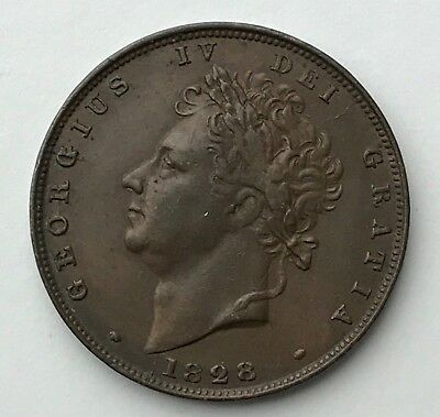 Dated : 1828 - Copper Coin - One Farthing - King George IV - Great Britain