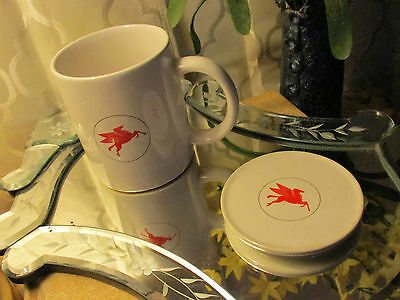 Vintage Mobil Gas Oil Logo Flying Pegasus Executive Ceramic Cup w/Cover +Patches