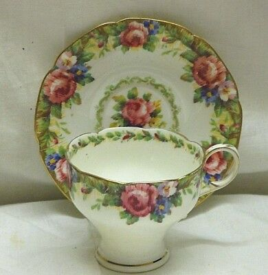 Paragon Double Warrent Tapestry Rose Bone China Tea Cup And Saucer Set