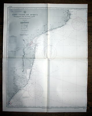 1938 East Coast Africa Inhambane Bay Port Natal Afrika map Karte Plan pla 130255