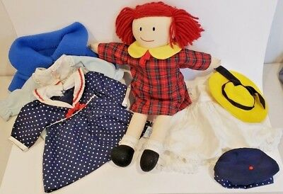 """Madeline 1990 Eden Rag Plush Doll 14"""" with 5 outfits and 2 hats"""