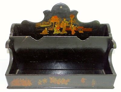 Antique Asian Japanese Black Lacquered Letter Box Wall Hanging