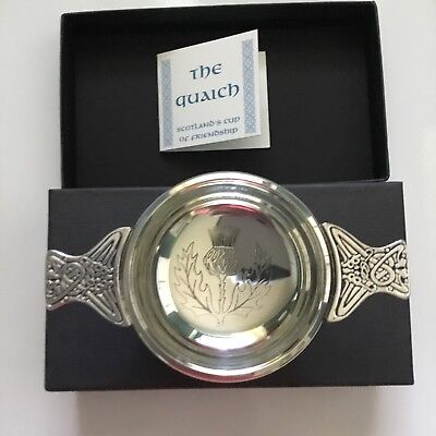 The QUAICH Cup of Friendship Pewter Celtic Made in Scotland New In Box