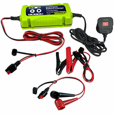 NEW 1.5A 6v-12v Intelligent Smart Car Bike Sealed,Lead Acid,Gel, Battery Charger