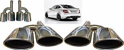 Quad Oval Chrome Exhaust Pipe Tips Muffler Tips For Mercedes Benz C63 AMG Coupe