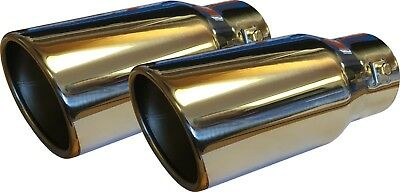 "X2 Universal 9"" Car / Van Round Exhaust Tail Trim Tip End Pipe Stainless Steel"
