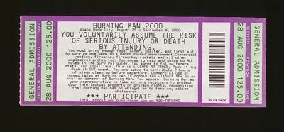 2000 Burning Man UNUSED Ticket Mint Condition and Summer 2000 BM Journal