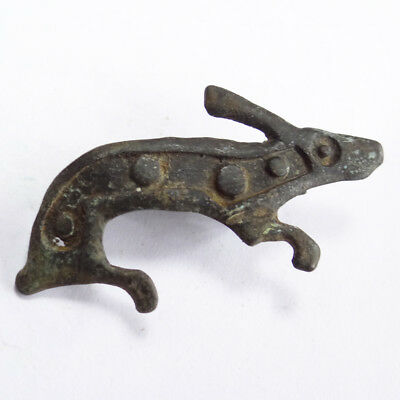 Roman Ancient Artifact Bronze Zoomorphic Hunting Fibula Brooch With Rabbit