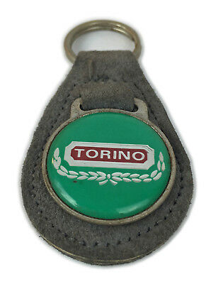 Vintage S Ford Torino Stitched Leather Metal Keychain