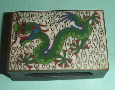 Antique Cloisonne Match Box Holder Decorated With Dragon.