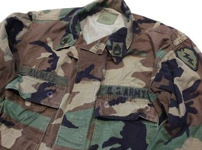 BDU Camo Military Coat US Army Staff Sergeant 25th Infantry Div Patch  Med/Long