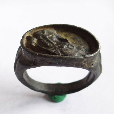 Greek Ancient Artifact Bronze Ring Bronze With Deer And Treasure