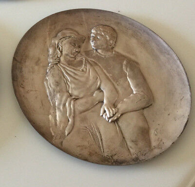 ".999 Silver Hamilton Mint ""Tribute to Picasso"" Plate ""The Lovers""  Dated 1973"
