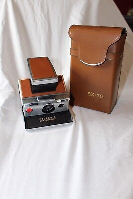 Vintage Polaroid SX-70 Land Camera Leather And Chrome With Case
