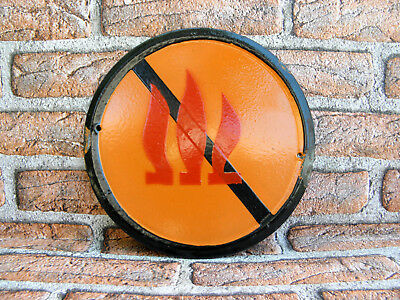 Vintage Tin Porcelain Enamel Sign Warning Fire,Industrial 1960s, Round Platе