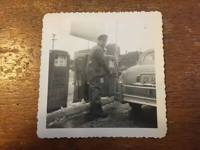 1950s Shell Gas Station, Pumping Gas, 1953 Plates on Car