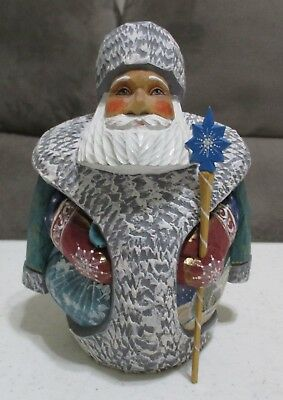 "Russian SANTA Father Frost Wooden Hand Carved Hand Painted SIGNED 6.25"" Figurine"