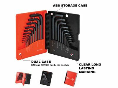 Short Arm Hex Key Allen Wrench Set- SAE Inch and Metric Sizes - 20 Piece