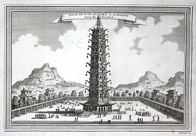 ca. 1750 Porcelain Tower of Nanjing China Ansicht view Kupferstich antique print