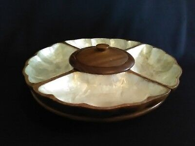 Vintage Philippines Monkey Pod w/Mother of Pearl Inlay Lazy Susan