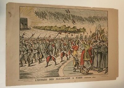 Pair Of Early 20th Century French Hand-Painted Lithographs On Newsprint