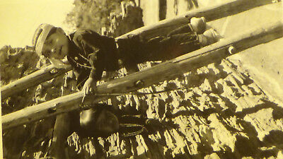 Rppc Postcard COOL NATIVE AMERICAN INDIAN BOY  LADDER, OUTFIT TOWN VIEW