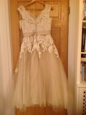 New Bridesmaid/prom 3/4 length tea dress UK10/12; In Style Justin Alexander 8815