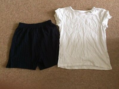 Girls Gym Shorts And White T-shirt Age 6-8yrs