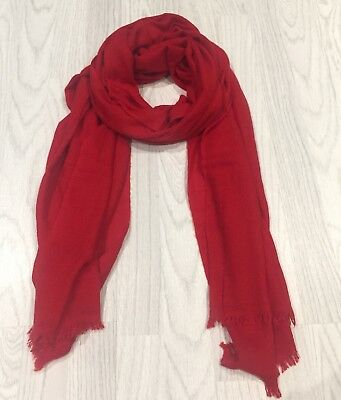 Ladies Handmade 100% Cashmere Pashmina Scarf In Red Made In Nepal