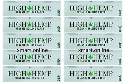 10x Pack Authentic High Hemp (King Size Slim) Organic Rolling Paper 10 Booklets